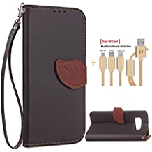 SongNi®+Free Gifts Multifunctional Data Line PU Leather Wallet Cover,Leaf shape Magnetic Closure,Card Slot,Wallet,Stand,Flip leather Cover for Samsung Galaxy Note 8-Black