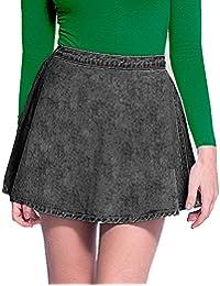 Acid Wash Full Circle Denim Skater Skirt - Black