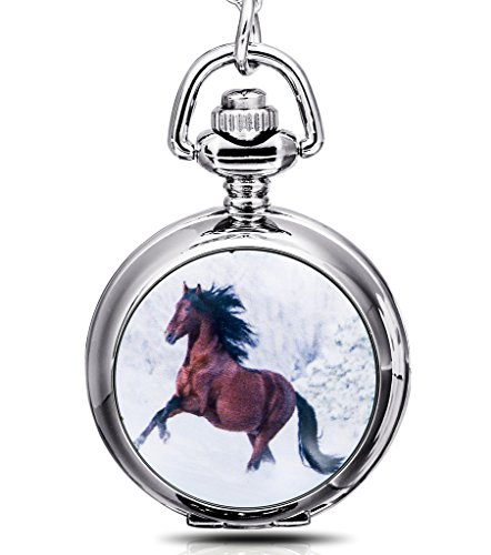 Infinite U Anhänger / Taschenuhr aus Quartz mit Spiegel im Inneren, Motiv Pferd, mit langer Halskette
