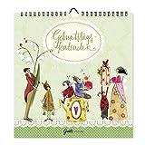 Jahresunabhängiger Geburtstagskalender, universale Geburtstagsübersicht zum Aufhängen mit Motiven, liebevoll illustriert, 12 Monatsseiten, Spiralbindung, Grätz Verlag