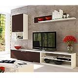 Conjunto de muebles para salón o comedor en blanco y wengué de 240cm. Incluye módulo bajo para TV y multimedia, mueble compacto y estante para colgar.