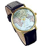Lancardo Damen Herren Armbanduhr, Fashion Casual Weltkarte Analog Quarz Uhr mit schwarz Leder Armband