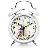 nleader Classic Bell alarma silencio reloj despertador Twin Bell Reloj despertador de metal con alarma y retroiluminación, con dial luminoso, luz nocturna
