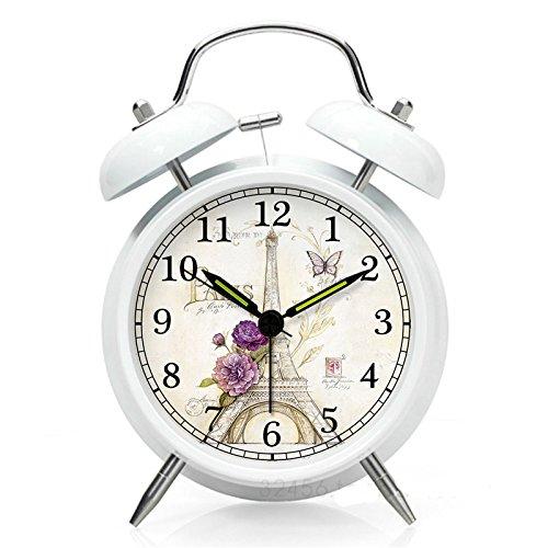 nleader Classic Bell Alarm Silence Wecker Twin Bell Metall Wecker mit lautem Alarm und Hintergrundbeleuchtung, helle Zifferblatt, Nachtlicht weiß
