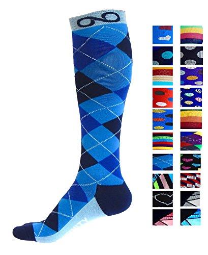 Kompressions-Socken (1Paar) für Männer & Frauen Von Infinity–zum Laufen, für Krankenschwestern, bei Tibiakantensyndrom, auf Reisen, beim Skifahren etc., verbessert Ausdauer und Rehabilitation Gr. L-XL, Blue Argyle (Wirkung Rennen)