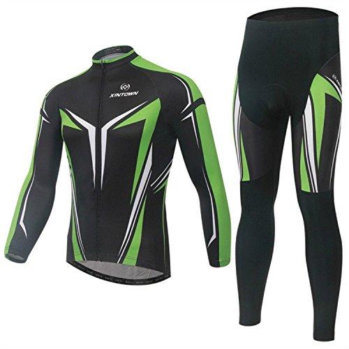 Ropa deportiva XINTOWN Farradkleidung juego de bicicleta Bike manga larga traje de deporte al aire libre Ciclismo + quick-dry transpirable pantalones de hombre para la primavera otoño negro y verde, color , tamaño large