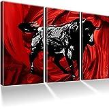 Stier / Corrida Bilder auf Leinwand mit Keilrahmen ! XXL Bilder / Tiere / Wandbilder / Kunstdruck / Leinwandbild / Fertig gerahmt !