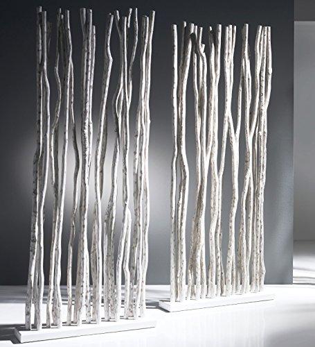 Exotischerleben Paravent weiß Weiss Jungle 2xSet | 2 x Raumteiler aus Natur Rattan-Stäbe | Eleganter Sichtschutz für Büro, Praxis Zuhause