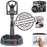 POWRX Professionelle Vibrationsplatte Active Evolution 4.0 inkl. Trainings App mit Videos - Zubehörpaket I Effektives Vibrationstraining wie im Studio I grau