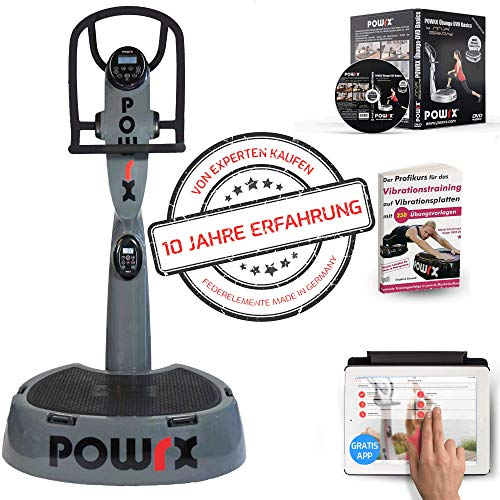 POWRX Professionelle Vibrationsplatte Active Evolution 4.0 inkl. Trainings App mit Videos - Zubehörpaket I Effektives Vibrationstraining wie im Studio I grau