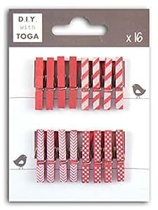 D.I.Y with Toga dko009–Set di 24mini mollette Fantasia Legno, Legno, Fuchsia, 3 x 0.4 x 1 cm