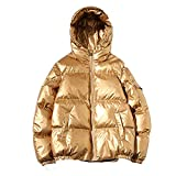 Damen Winter Daunenmantel Daunenjacke Hoodie Frauen Winter Einfarbig Winterjacke Jacke Mantel Slim Fit Kaputzen Mode Parka Outwear Wintermantel(In der Rabattaktion) (M (Sparen Sie 30%), Gold)
