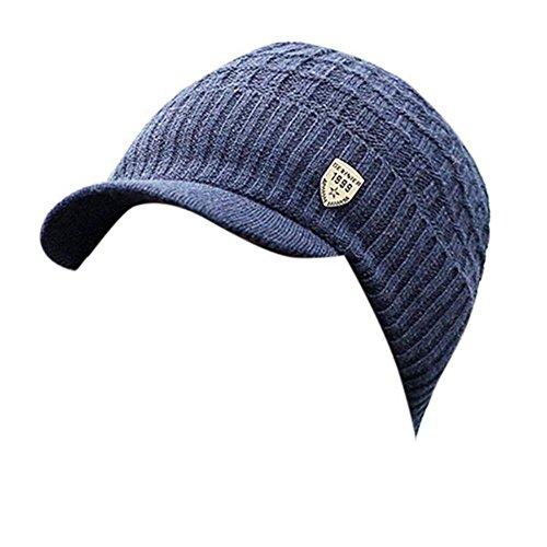 bc52b678ad0f Invierno Hombre Gorro de Punto Tejer de lana Beanie Sombrero de gorras con  Viseras (Navy)