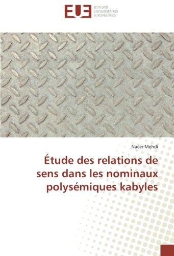 Etude des relations de sens dans les nominaux polysemiques kabyles par Nacer Mehdi