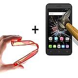 WoowCase   Flexible Gel Schutzhülle für [ Alcatel OneTouch Go Play ] [ +1 Schutzglas ] Hartglas, Alcatel OneTouch Go Play Hülle Case TPU Silikon in Rot