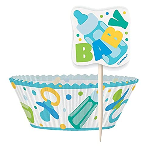 Blue Baby Shower Cupcake Cases and Cupcake Toppers Kit for 24