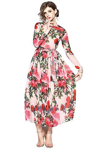 Damen Elegant Maxikleider mit Blumenmuster A-Linie Casual Lang Kleid Partykleid