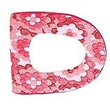 TianranRT Bad Wärmer Weicher Reißverschluss Deckeloberseiten Toilettenpapier WC Seat Schüssel Weich Zipper Blume Waschbar Deckel Pad (Hot Rosa)