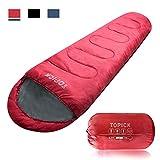 TOPICK Outdoor Schlafsack Mumienschlafsack, inklusive Packsack, gepackt in verschiedenen Farben Sommer und Winterschlafsack Kompressionspacksack, 220 x 81 cm, Rot