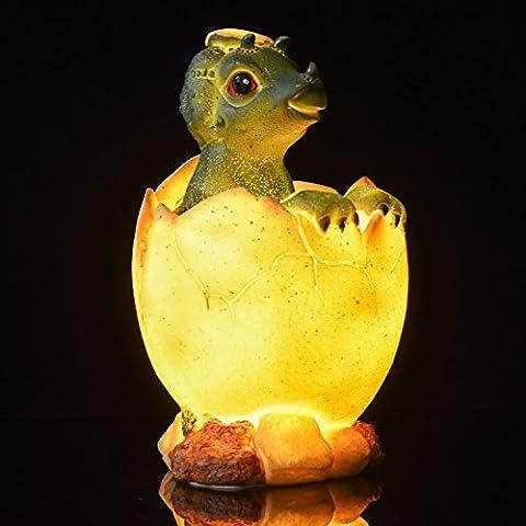 Amazlab Baby Dinosaur 6 LED Night Light / Bedside Lamp / Desk Lamp Warm White Glow, USB+Battery Powered Lantern, 4 Hours Timer …