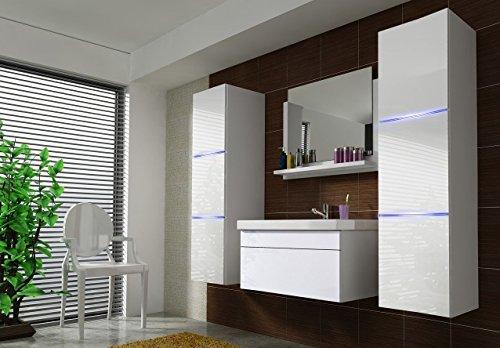 Home Direct Amanda 2, Moderne Badmöbel, Badeschränke, mit Waschbecken (Weiß MAT Base/Weiß HG Front, LED weiß) - Waschtisch Waschbecken Base