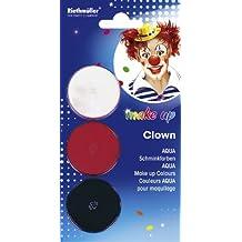 Riethmüller 5722–Aqua payaso Maquillaje, 3latas, color blanco/rojo/negro