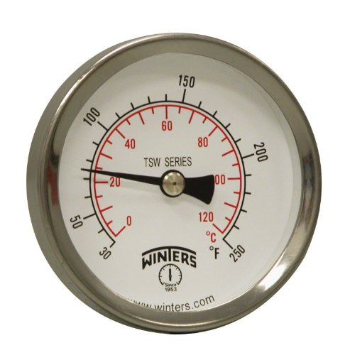 Winters TSW Series Aluminum Dual Scale Hot Water Thermometer, Dial Type, 2-1/2 Dial, 1/2 NPT Center Back Mount, 30-250 F/C Range by Winters - Npt Back Mount