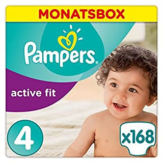 Pampers Active Fit Windeln,Gr.4, Maxi 8-16kg, Monatsbox, 1er Pack (1 x 168 Stück)