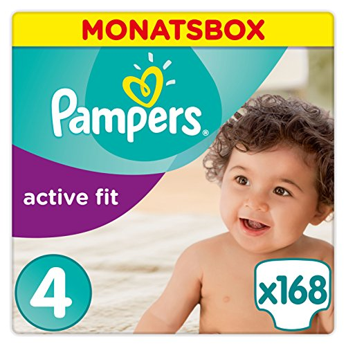 Pampers Windeln Active Fit Gr. 4 Maxi 7-18 kg Monatsbox, 1er Pack (1 x 168 Stück)