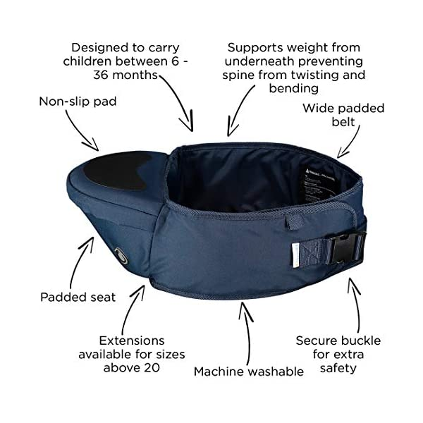 Hippychick Hipseat Baby Carrier - The Easy, No-Fuss Baby Carrier That Takes Care of Your Back - Navy Hippychick EASILY CARRY YOUR PRECIOUS BABY or toddler without strain or discomfort and meet the all-important need of your child to be carried close to you. No need to figure out how to get baby and you comfortable or where all the straps go. The wide waistband provides comfort and strong support with no-fuss simplicity. CARRYING YOUR CHILD AGAINST YOUR BODY is Nature's way. The hipseat with its generous, luxuriously padded, back-supporting belt, featuring an integrated, moulded seat, supports the child's weight from underneath ensuring your spine stays straight. Little ones are carried in a way that is comfy and bonding, while your back is protected from short term fatigue and long term damage. ITS EASY HOP-ON/HOP OFF DESIGN and elevated carrying position, makes it invaluable on sightseeing trips, holidays, long walks, crowded cities, festivals and anywhere buggies don't fit. Its back supporting design is perfect for carrying children between 6 month and 3 years. 6