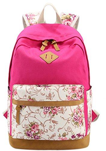 Panegy Damen Mädchen Mode Design Rucksack Bulemendruck-Art Canvas Reisen Rucksack Schulrucksack für Schüler Freizeit Outdoor Sport Backpack - Hellblau Rot1