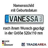 TA TradeArea EU-Namensschild mit Geburtsdatum individualisierbares geprägtes...