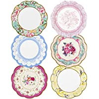 """Talking Tables Pack of 12 - Size 18cm, 7"""" Tea Party Vintage Floral Paper Plates Small 