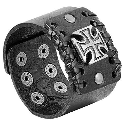 JewelryWe Bracelet Punk Rock Croix Gothique Grande Largueur 4.4 CM