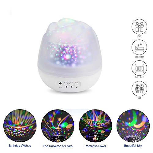 Star Projector Night Light, 360 Degree Rotating Starry Sky Projection Nightlight Lamp For Baby Childrens Kids Nursery decro living room Bedroom Ceiling Best Gift (White)