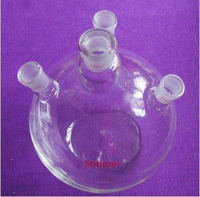 Gowe 5000ml, 24/29,4-neck, fond plat bouteille en verre, 5l, quatre, le cou Lab lourds mur Bouteille