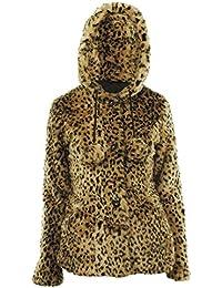 Afri Frauen Plain / Tierdruck Faux Fur Pom Pom Langarm Kapuzen Damen Jacke Mantel
