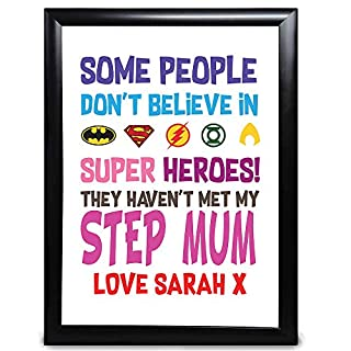 Personalised Stepmother Gifts, People Don't Believe In Superheroes With Batman, Superman, Aquaman For Step-Mum For Mother's Day, Christmas, Birthday, From Stepson Or Stepdaughter Customised Gift