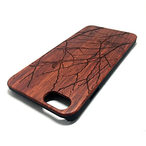 Custodia iPhone 6/6S, Natura Legno Custodia Wood back Cover Hard PC Bumper Protettiva Case Per Apple iPhone 6/6S(4.7 Pollici)Smartphone - Wooden Cover(Middle finger) Rose Branches and birds