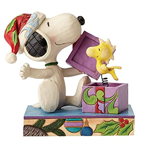 Enesco 4053696 Peanuts by Jim Shore A Christmas Suprise - Snoopy Figurine, Stein, mehrfarbig, 8 x 12 x 12 cm