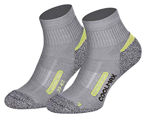 Piarini 2 Paar Coolmax Wandersocken Outdoorsocken Funktionssocken kurz | grau 35-38