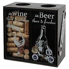 Idea Regalo - lily' S Home sughero del vino e birra Cap Holder, in legno e sughero vino birra tappi Shadow box con birra apribottiglie, nero (83/4
