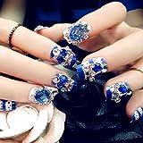 Spritech (TM) 22Pre Bling Diamond diseño falso uñas pieza con un libre uñas pegamento, azul