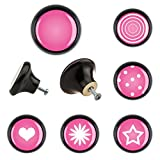 6er Set Möbelknopf Keramik KK6000562S classic Stern Herz pink rosa Möbelknöpfe Griffe Knäufe Schrank Schublade Kommode Küche Büro Kinderzimmer