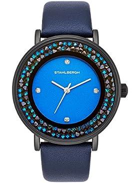 Stahlbergh Hamar Damenuhr Quarzuhr Metall schwarz/blau Präzisions-Quarzwerk 3 ATM verziert mit Kristallen von...