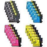 PerfectPrint Kompatibel Tinte Patrone Ersetzen für Brother MFC-J220 J265W J410 DCP-J125 J315W J415W J515W LC985 (Schwarz/Cyan/Magenta/Gelb, 24-Pack) - gut und günstig