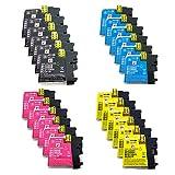 PerfectPrint Kompatibel Tinte Patrone Ersetzen für Brother MFC-J220 J265W J410 DCP-J125 J315W J415W J515W LC985 (Schwarz/Cyan/Magenta/Gelb, 24-Pack)