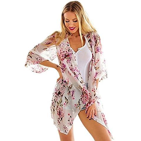 Chemisier Longra Femmes Mousseline de soie Impression Châle détaché Kimono Cardigan Blouse (Taille: S,