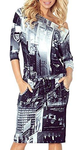 Zeta Ville - Robe lien sports mi-longue poches encolure bateau - Femme - 533z New York
