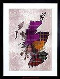 PAINTING MAP OUTLINE SCOTLAND TARTAN INSET REGIONS FRAMED PRINT F97X6524
